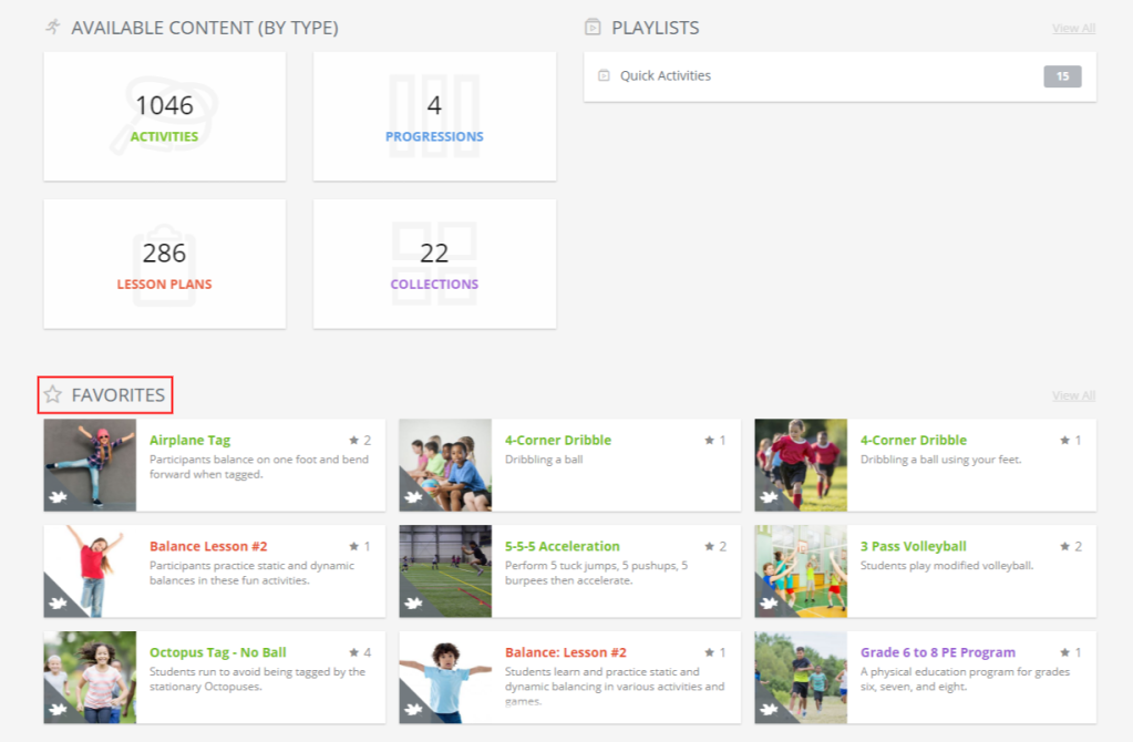 Use favourites in PLAYBuilder to quickly access physical literacy programming